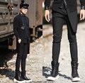 27-44! 2016 de alta qualidade dos homens de roupas slim-estilo ocidental calças elástico personalizado calças saia figurinos cantor