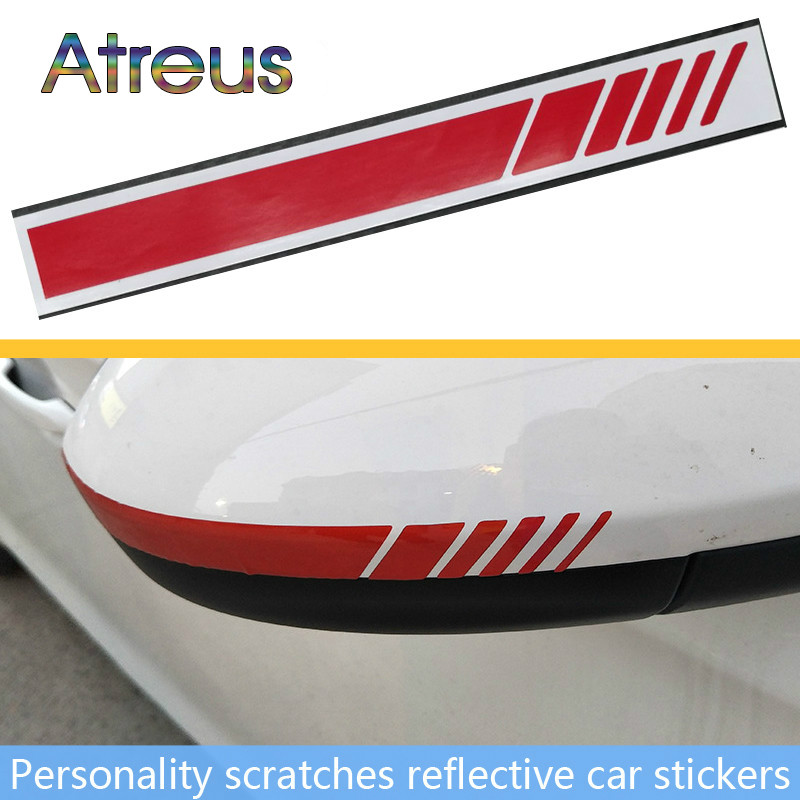 2Pcs Car Styling Vinyl Graphic Rearview Mirror Stripe Stickers for Ford Focus 2 <font><b>VW</b></font> Passat B5 B7 <font><b>T4</b></font> Skoda Rapid Fabia Octavia A5 image