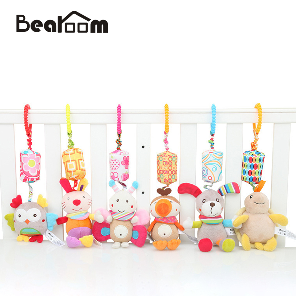 Bearoom Rattle Toys For Baby Cute Puppy Bee Stroller Toy Rattles Mobile For Baby Trolley 0-12 Months Infant Bed Hanging Gift cute lovely baby bed around baby stroller hanging dolls bell rattle mobile musical plush infant toys gifts xmas toy for kids