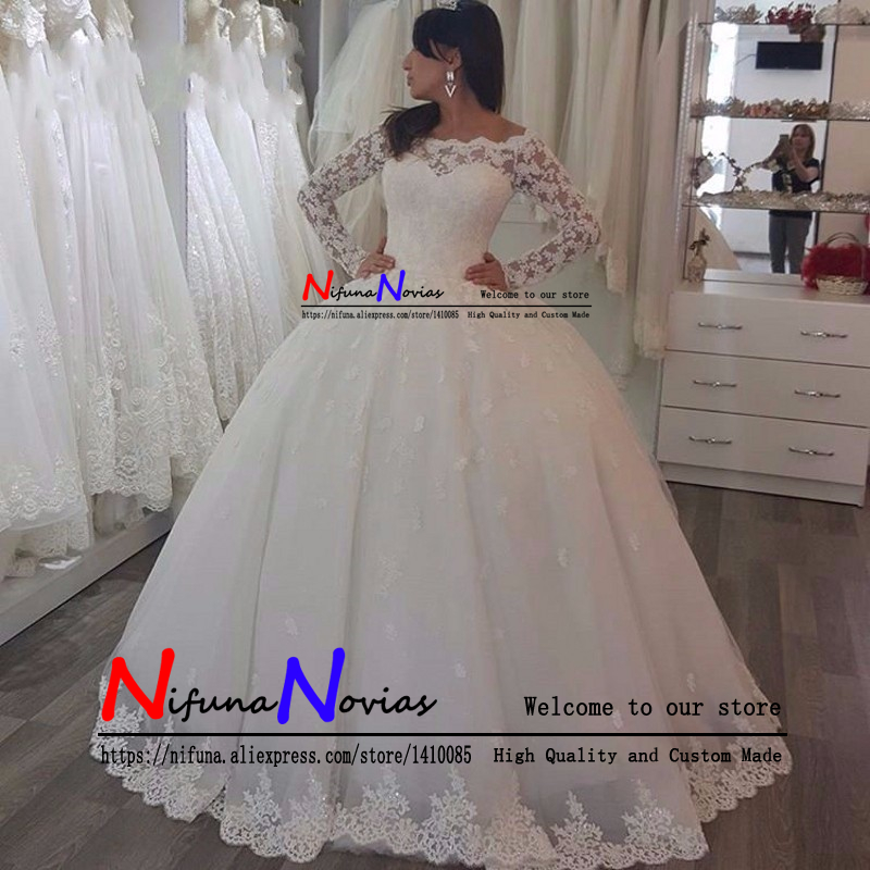 Full Ball Gown Wedding Dresses: Robe Mariee Princesse Fashion Full Appliques Ball Gown