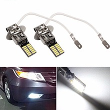 2x 12V H3 White 6500K 24-SMD 4014 LED High Power Bulb DRL Fog Light Driving Lamp car-styling Free shipping