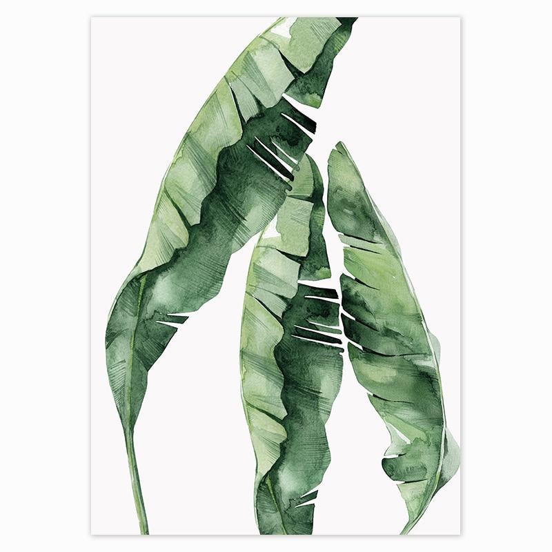 HTB14ZQXavBj uVjSZFpq6A0SXXaT Scandinavian Style Tropical Plants Poster Green Leaves Decorative Picture Modern Wall Art Paintings for Living Room Home Decor