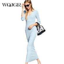 Europe Station 2017 Fashion Clothes High Waist Sexy V Lead Package Buttocks Knitting Dress Women