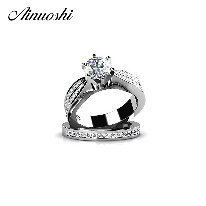 AINUOSHI 925 Sterling Silver Women Engagement Rings Set 1 Carat Round Cut Zircon Fashion Jewelry Aneis