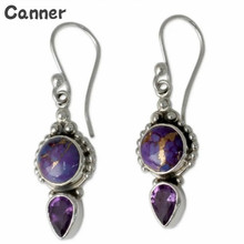 Canner Fashion Ethnic Jewelry Purple Stone Drop Earrings For Women Vintage Crystal Bohemia Dangle Earrings Party Gifts new ethnic bohemia dangle drop moonstone earrings for women tibetan silver earring vintage earings fashion jewelry party gifts