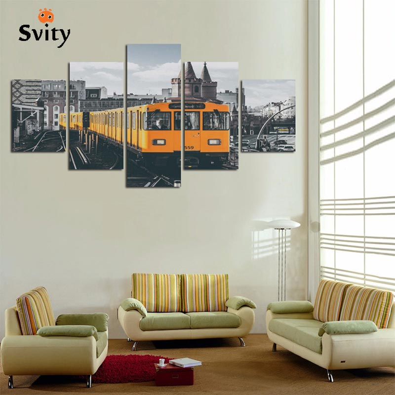 Purple And Yellow Kitchen Wall Art Unframed Kitchen: SVITY 5Pcs Modern Wall Canvas Painting Yellow Small Train