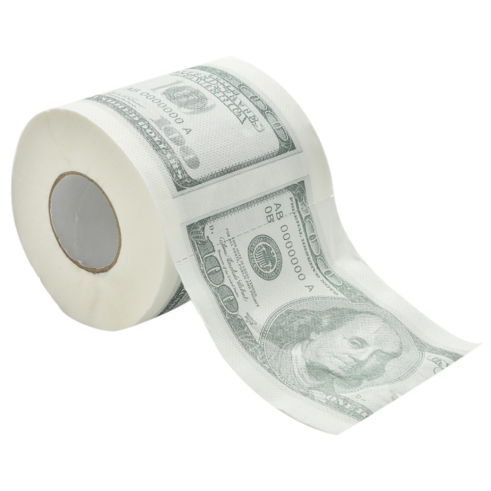Face Tissue One Hundred Dollar Bill Toilet Paper Novelty Fun $100 TP Money Roll Gag Gift