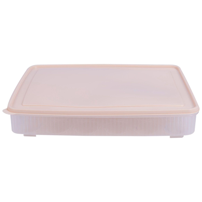plastic Egg box kitchen egg storage box 24 Grid Eggs holder Stackable freezer storage organizers egg storage Container Beige