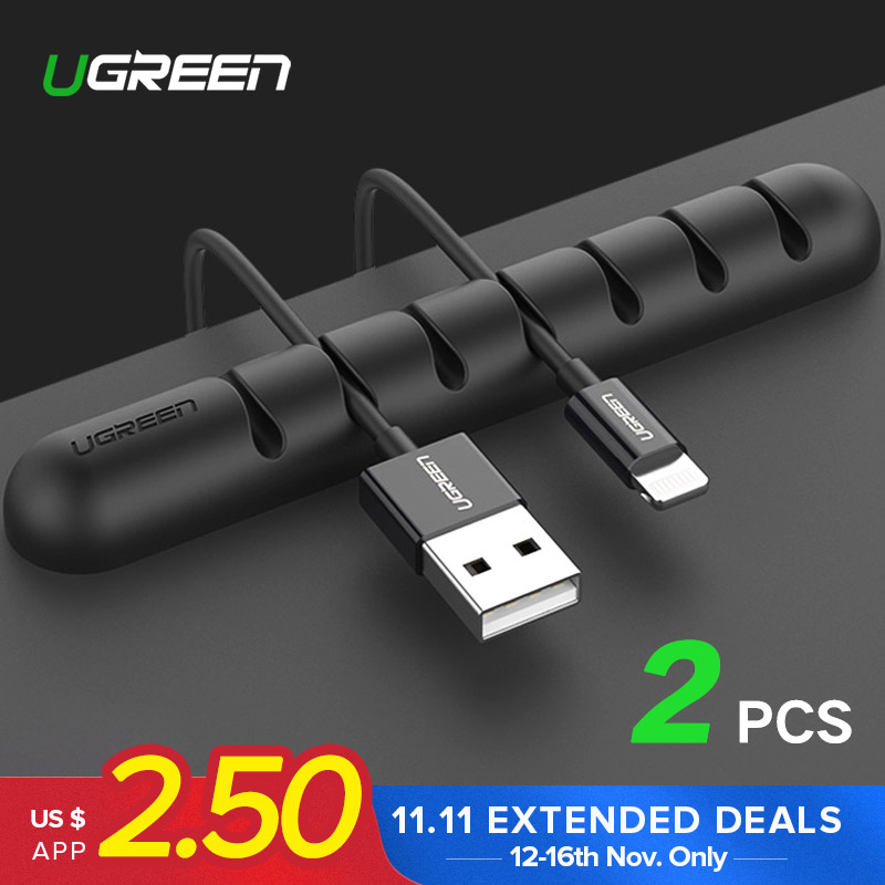 Ugreen Cable Organizer Silicone USB Cable Winder Flexible Cable Management Clips Cable Holder For Mouse Headphone Earphone 1pc brown leather headphone earphone cable tie cord organizer wrap winder holder