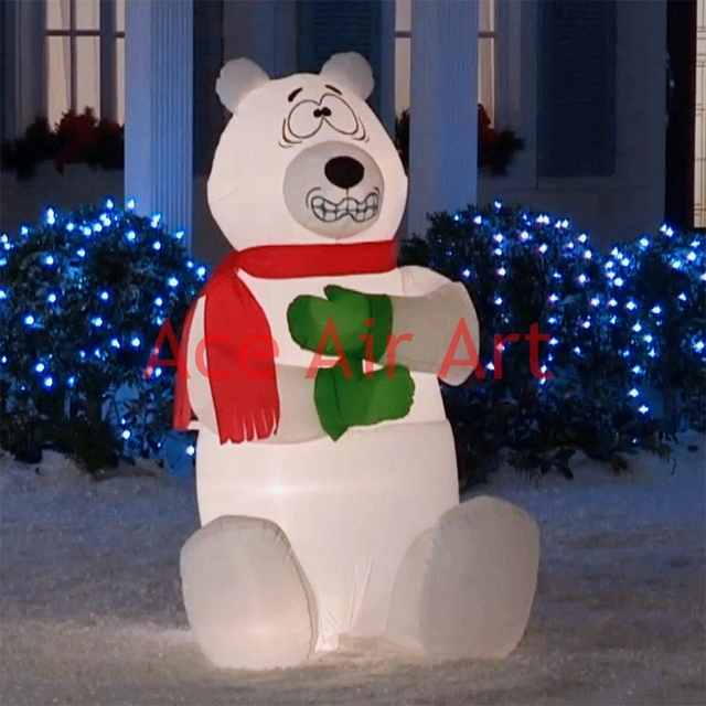 outdoor giant christmas inflatable shivering polar bear for advertising - Outdoor Polar Bear Christmas Decorations