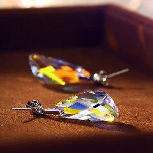 Image 5 - Neoglory kristal takı seti geometrik tarzı S925 gümüş kolye & küpe Swarovski kristalleri ile süslenmiş