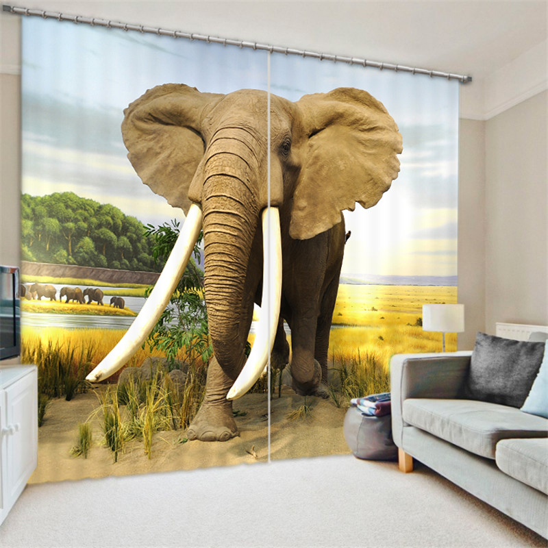 Animal Elephants 3D Painting Blackout Curtains Office Bedding Room Living Room Sunshade Window Curtain Custom-made Size