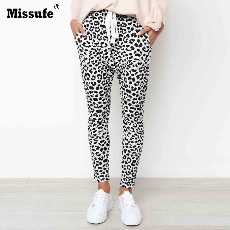 a674dff4e7328 Missufe Sexy Leopard Printed Long Pants Women Drawstring Casual Trousers  Female Autumn Winter Pocket Loose Workout Sporty Pants