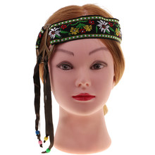 Vintage Boho Women Headband Hippie Embroidery Headband Headset Female Peace Sign Headdress Womens Halloween Costume Gift(China)