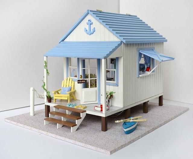 DIY De Madeira casa de Bonecas Em Miniatura Artesanato Em Miniatura 3D Kit -- LED caixa + Música + controlador & móveis de Voz instrução inglês
