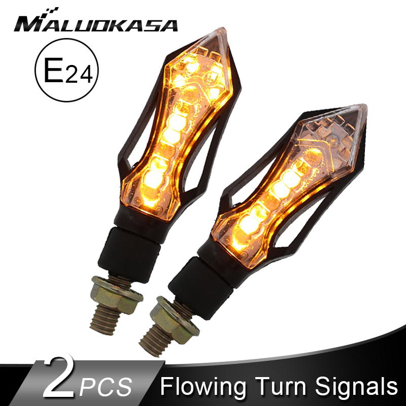 2PCS LED Turn Signals Motorcycle E24 Flashing Light 9LED Flowing Water Blinker Built-in Relay Moto Lamp Bolt 10mm Auto Indicator