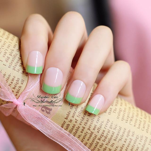 French mung bean pure color fake nails Japanese cute acrylic false ...