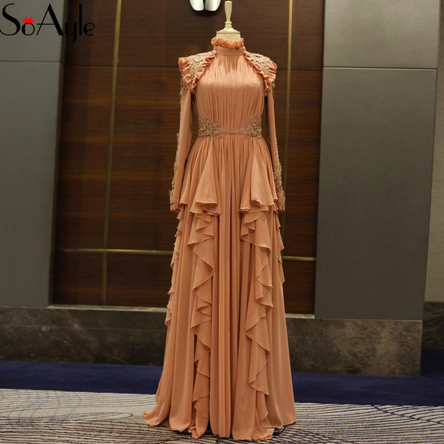 Soayle 2018 High Neck Evening Dresses Long Sleeves Gorgeous Chiffon
