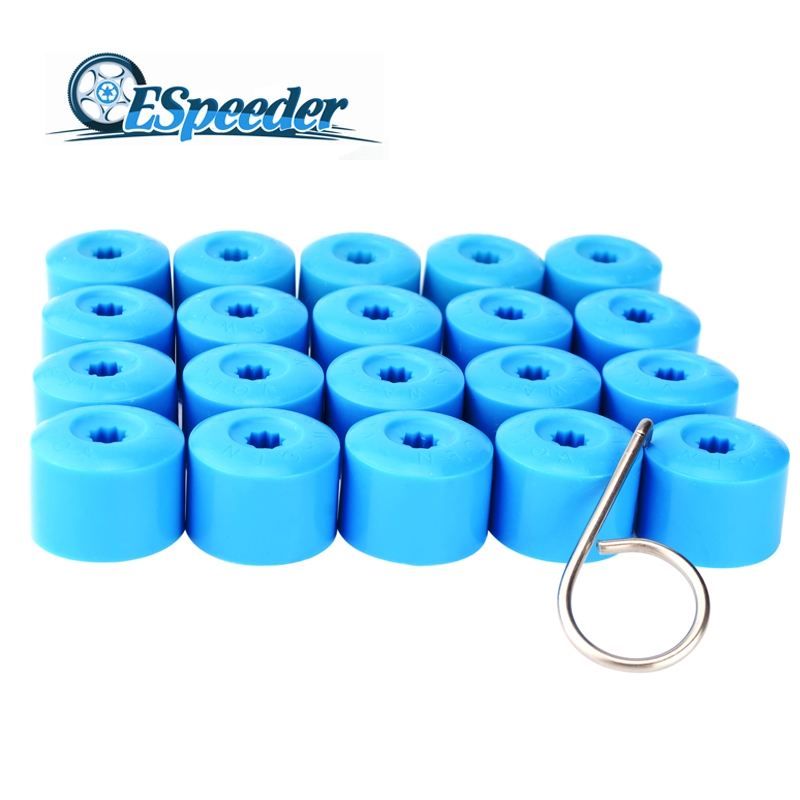 ESPEEDER 20pcs 17mm Wheel Nut Bolt Head Cover Cap Car Tyre Wheel Hub Covers Bolt Rims Plastic Nut Protection Caps For VW Golf