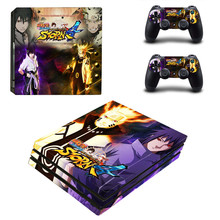 Naruto Uchiha Sasuke Anime Design Sticker for Sony Playstation 4 Pro PS4 Pro Promotion Console +2Pcs Controller Protective Flim
