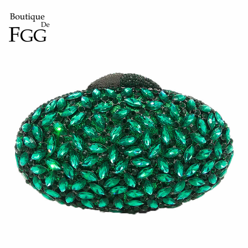 Boutique De FGG Emeral Green Crystal Evening Clutches Bag Hollow Out Women Metal Clutch Purse Wedding Party Prom Dinner Handbag