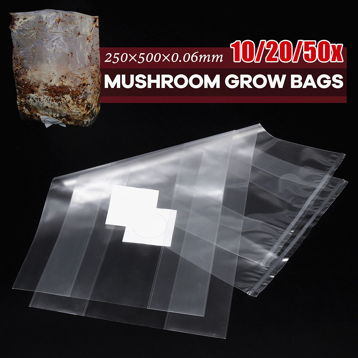 10/20/50pcs 10*20 Inch PVC Mushroom Spawn Grow Bag Substrate Hight Temp Pre Sealable Garden Supplies Grow Bags