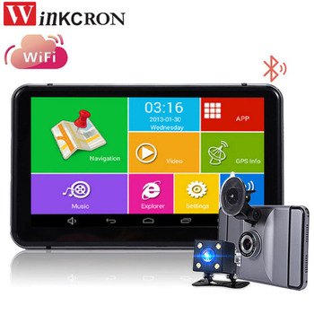 """7"""" DVR Dash Cam GPS Navigation Car Rear view Camera Android WIFI Quad-core Truck vehicle gps Russia/Europe Two cameras free map"""