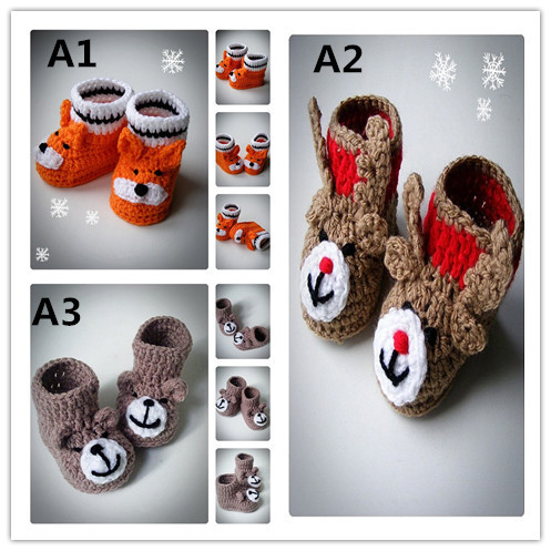 Aliexpress Buy Crochet Teddy Bear Baby Booties Knitted Baby