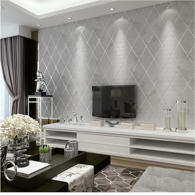 Modern Simple Bedroom Wallpaper Roll 3D Stereo Living Room TV Background  Wall Relief Wallpapers Diamond Stripes Lattice