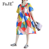 F JE 2017 Summer New Arts Style Women Short Sleeve Dress High Quality Cotton Vintage Print