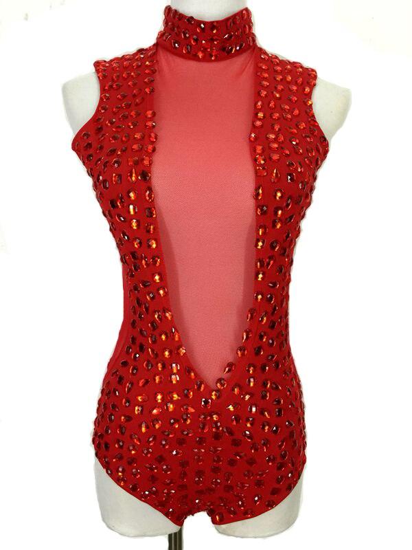 2015 new female red sexy slim acrylic rhinestones Perspective gauze hollow DJ singer costume DS dancer for performance bodysuit