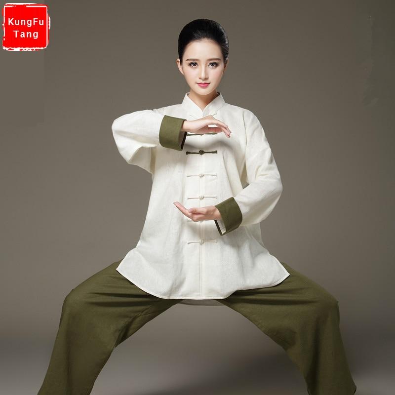 Top Grade Linen Bi-color Tai Chi Clothing Long Sleeve Tang Suit Kung Fu Uniform Martial Arts Tai Chi Suits Wushu Garment women free shipping new sale chinese kung fu suit women tai chi clothing 100