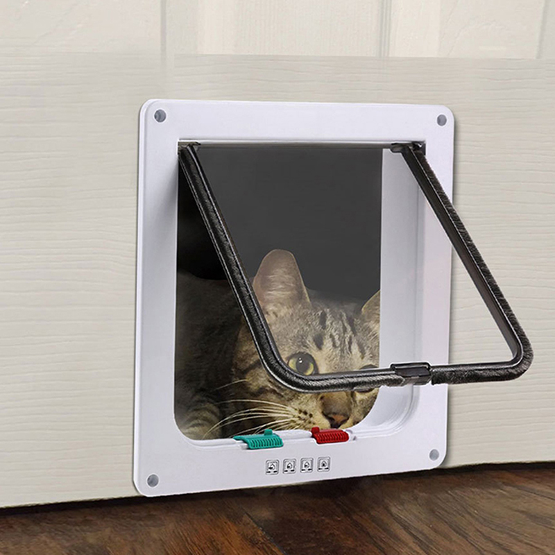 Lockable Dog Cat Security Flap Door Security Flap Door Abs Plastic Size L Animal Small Pet Cat Dog Gate Door Pet Puppy Supplies