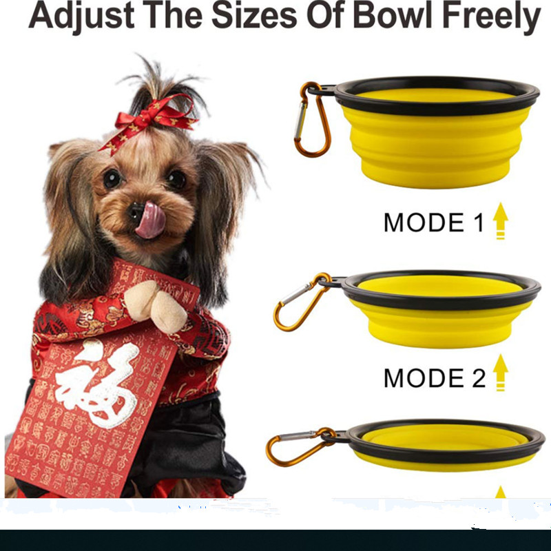 Pet Soft Dog Bowl Folding 1pcs Silicone Travel Bowl for Dog Portable Collapsible Folding Dog Bowl Pet Cat Food Water Feeding in Dog Feeding from Home Garden