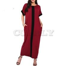 Women Plus Size 3XL 4XL 5XL Robe Dresses Contrast Panel Shirt Dress O Neck Short Sleeve Casual Loose Maxi Long Dress Summer 2019 цена и фото