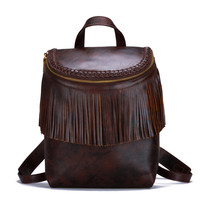 Original Vintage Cow Leather Brown Tassel Backpacks Zipper Bag Women High capacity Top Layer Genuine Leather Schoolbag Satchels