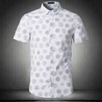 جديد صيف 2018 سلع الكتان القطن أزياء الطباعة الترفيه قصيرة الأكمام قمصان/الذكور عارضة كبيرة الحجم S-5XL