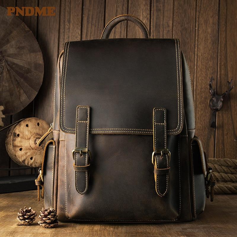 PNDME vintage designer backpack men women high quality genuine leather bookbag simple crazy horse cowhide travel laptop bagpack