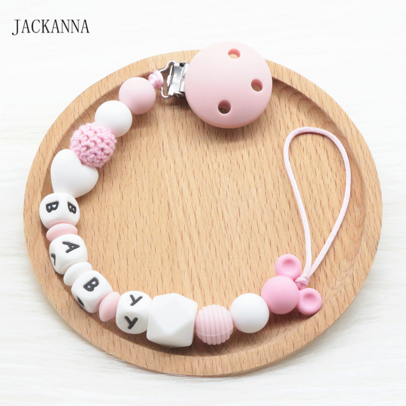 Personalized Name Baby Pacifier Clips DIY Mouse Bead Soother Clip BPA Free Attache Sucette Silicone Baby Pacifier Holder Chain