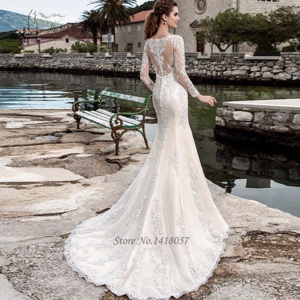 2a906ae8d669c US $177.0 |Berta Long Sleeve Lace Wedding Dress Mermaid Bridal Dresses 2017  Country Western Wedding Gowns Vestido de Noiva Sereia Com Manga-in Wedding  ...
