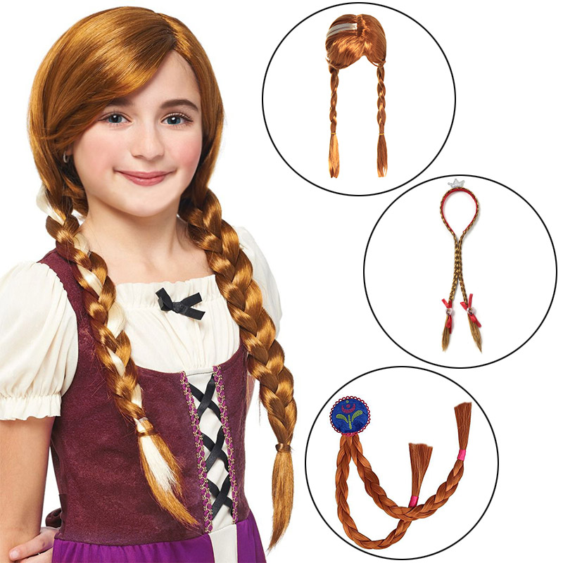 Kids Anna Elsa Party Wig Cosplay Supplies Girl Halloween Birthday Princess Headgear Gift Synthetic Hair Braid Headband