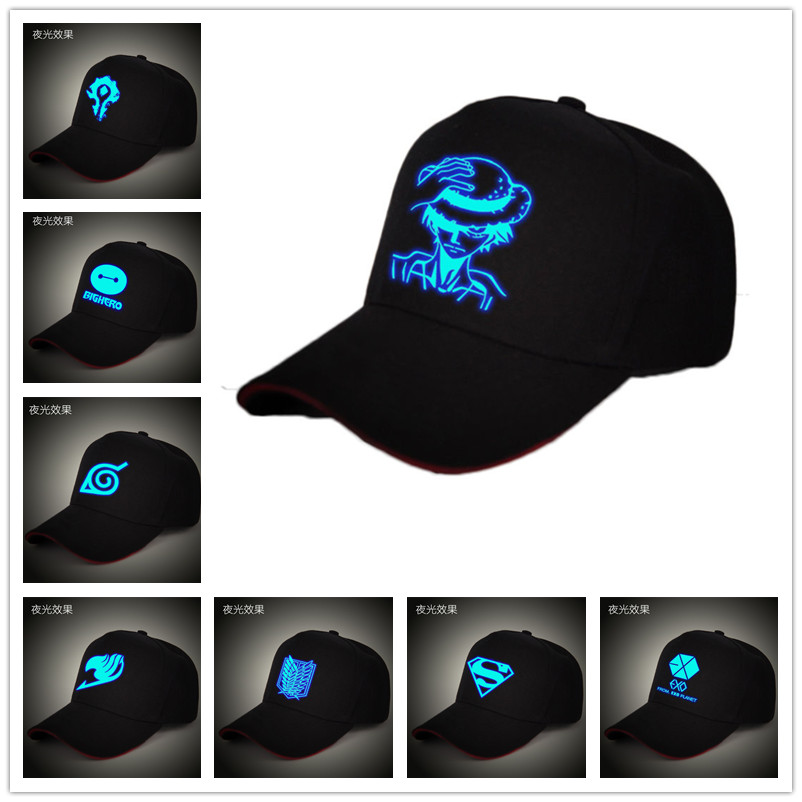 Collection Here Anime One Piece Monkey D Luffy Cotton Printing Sun Hat Luminous Hat Baseball Cap Unisex Accessories Cosplay Hip-hop Fashion Boys Costume Accessories
