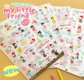6 Sheet/lot DIY Cute Red Girl Sticker Kawaii Paper Ponybrown Stickers For Scrapbooking Diary Decor Free Shipping