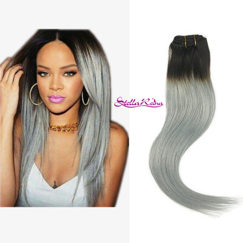 Stella reina 8a rihanna hair style ombre dip dye clip in peruvian stella reina 8a rihanna hair style ombre dip dye clip in peruvian hair extension dark roots pmusecretfo Image collections