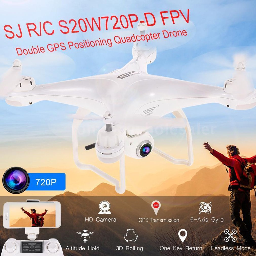 S20W Double GPS Dynamic Follow WIFI FPV RC Dron 4 Axes 720P/1080P Quadcopter 120 Degree Wide Angle RC Helicopters Aircraft ModelS20W Double GPS Dynamic Follow WIFI FPV RC Dron 4 Axes 720P/1080P Quadcopter 120 Degree Wide Angle RC Helicopters Aircraft Model
