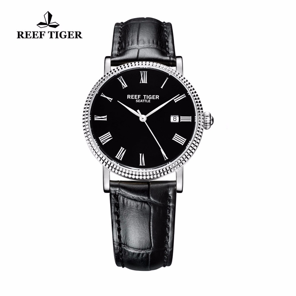 Reef Tiger/RT Watches Business Watches Men Automatic Designer Dress Watches Leather Strap Steel Watch with Date RGA163 reef tiger rt business men watch with date stainless steel leather strap waterproof mechanical watches rga823