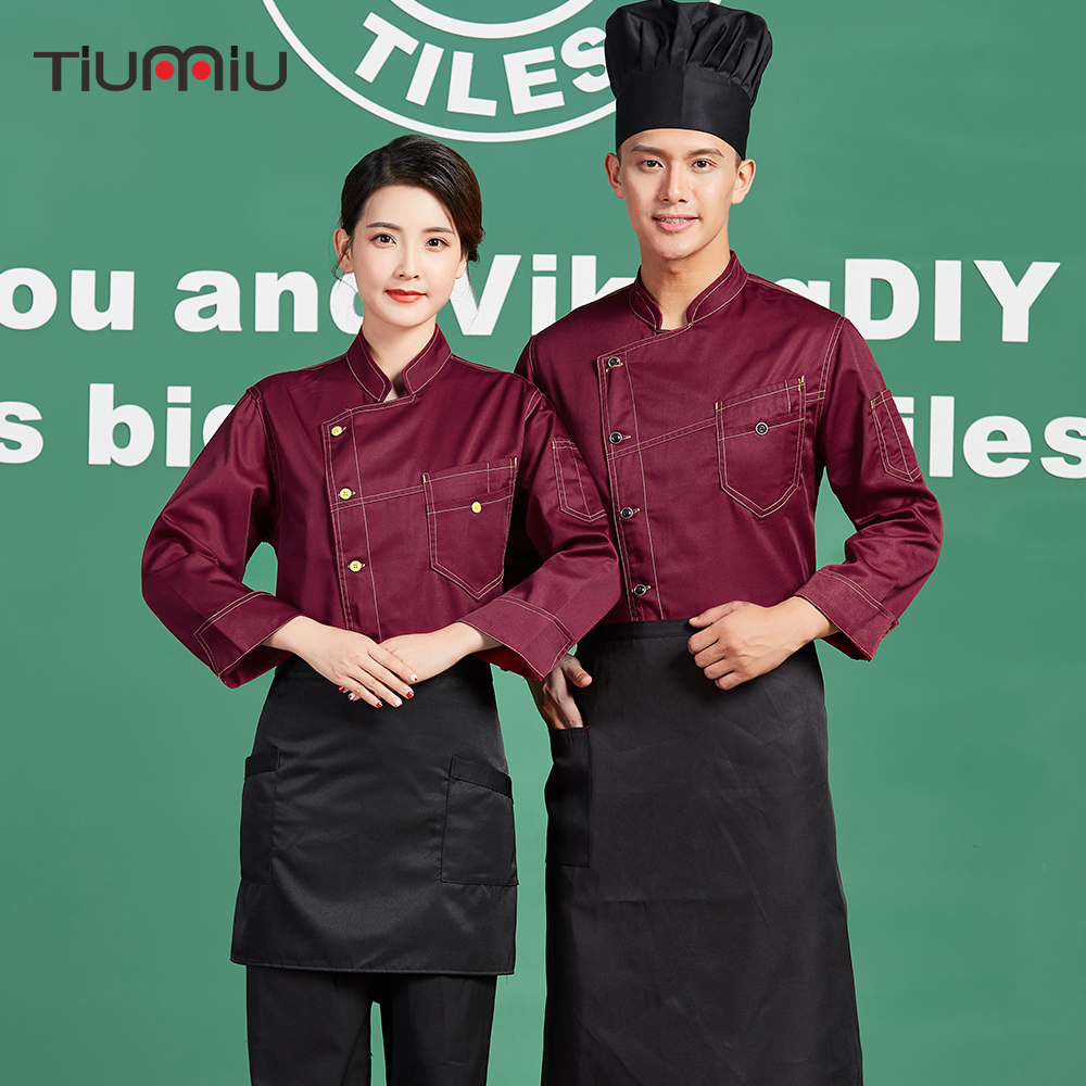 New Arrival Chef Long-sleeved Jacket Uniform Breathable Work Wear Clothes Food Service Kitchen Hotel Overalls Coats Men Women