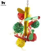 Colorful Pet Bird Parrot Wood Rattan Balls Toys Chew Toy Hang Macaw Cockatoo Standing Frame Rack