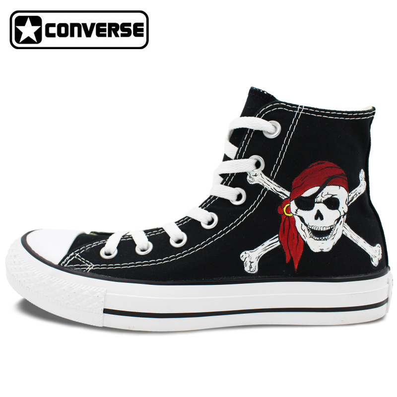 Mens Womens Converse All Star Boys Girls Shoes Pirates of The Caribbean  Skull Design Hand Painted 1bf8d673f