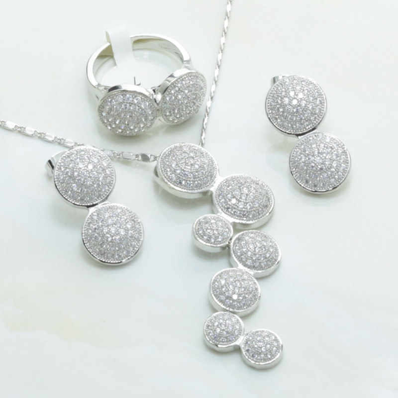 Otogo Transing S274 Fashion New Women Silver Color White Crystal Necklace Rings Earrings Wedding/Bride Jewelry Sets Gift